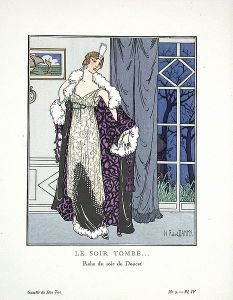 "Fashion plate illustrating a dress by Jacques Doucet Title: ""Le Soir Tombe"" (from Wikipedia Commons)"