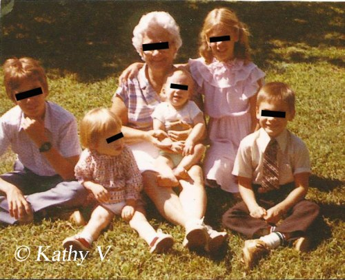 Gramma with all five grandkids, circa 1982. I'm the little one in front who can't be bothered with looking at the camera. (Thanks to my cousin Chris for providing the photo.)